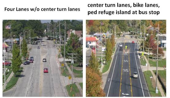 Before And After Of A Road Diet On Philo Road In Urbana, Illinois Which  Converted Traffic Lanes Into Turn Lane, Bike Lanes, And Added A Crosswalk  With ...