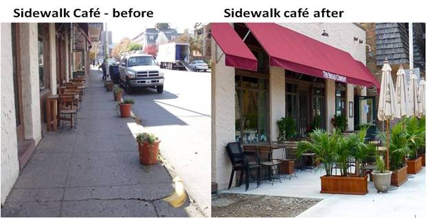 Before And After Sidewalk Expansion On Goodwin Avenue In Urbana, Illinois  Which Accommodates More Business And Pedestrian Activity.
